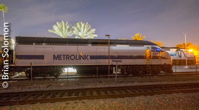 Inky Gloom and Artificial Light: Metrolink at Riverside California.