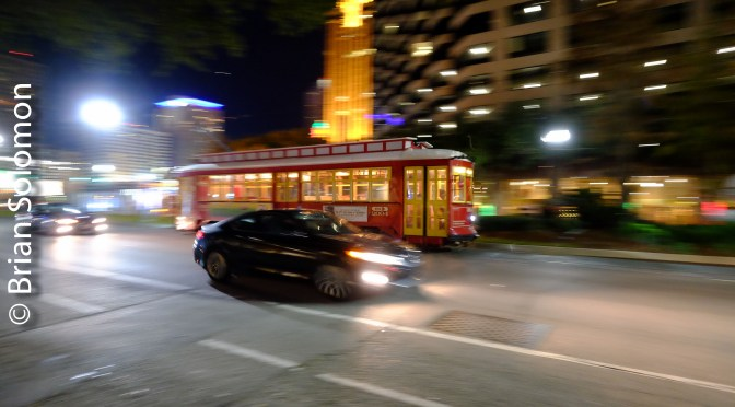 Night Photos of a New Orleans Trolley Car—Wide and panned.