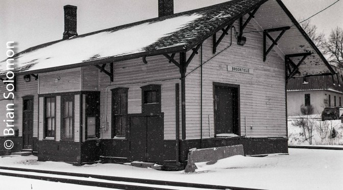 Milwaukee Road Depot at Brookfield, Wisconsin in the Snow.