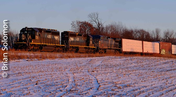 Illinois Central SD40-2s on Wisconsin's Byron Hill.