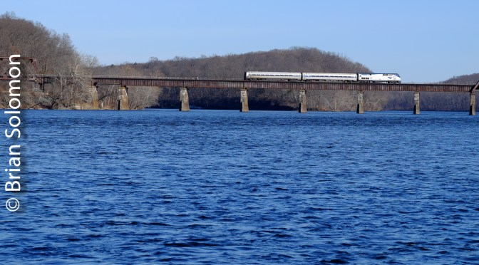 Amtrak 490 Crosses the Connecticut River.
