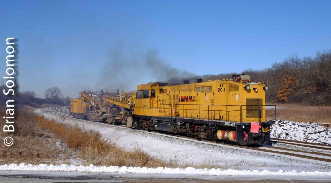 Loram Ballast Cleaner on the Move: the ghost of an old GP.