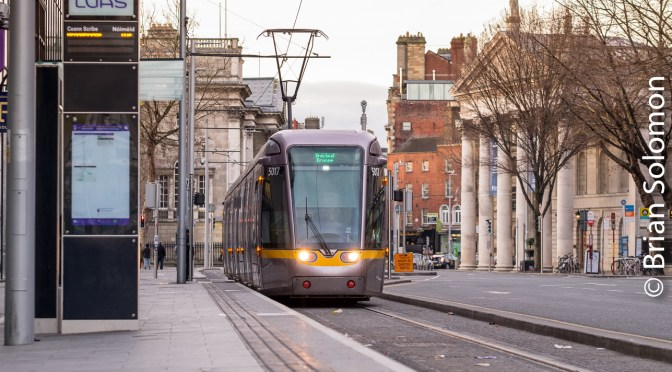 Sunday Morning: LUAS Cross City near College Green.