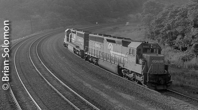 July 30, 1987: Conrail SD45-2s downgrade at Bennington Curve.