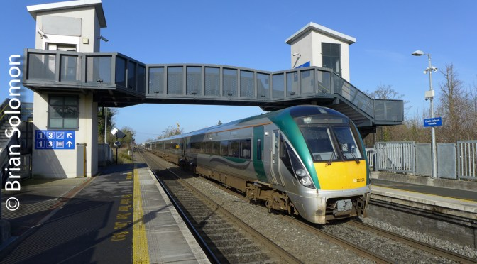Irish Rail's ICR works the up-Sligo at Clonsilla—March 2019.