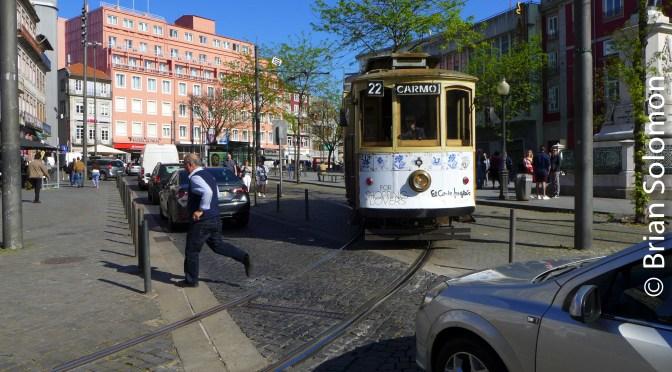 Porto Historic Tram in Traffic.
