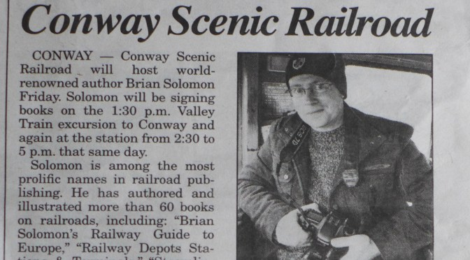 Headline: Author Brian Solomon at Conway Scenic Railroad