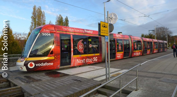 —THREE PHOTOS—LUAS Vodafone Tram at Dundrum