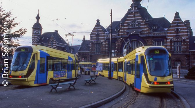 Brussels Trams at Schaarbeek: 1999 and 2017.
