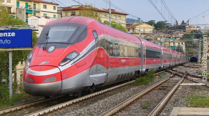 Italian Fast Train gliding Slowly