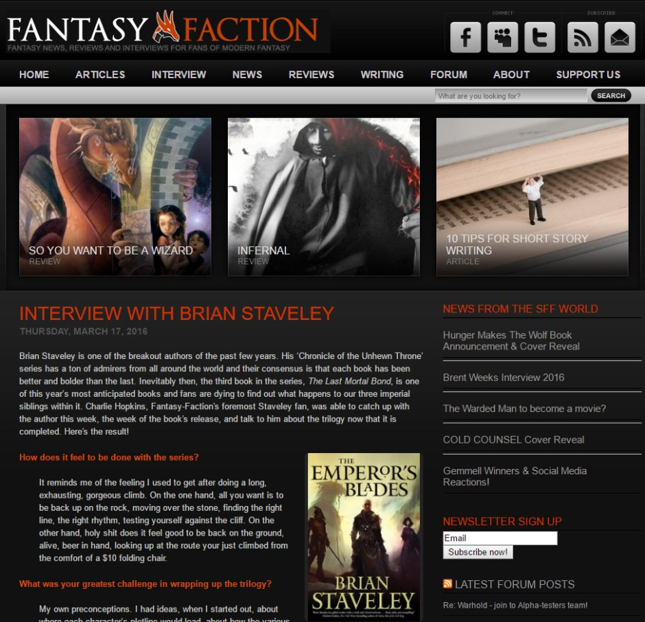 Interview with Brian Staveley at FantasyFaction.com