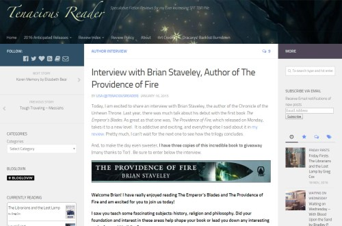 Interview with Brian Staveley at The Tenacious Reader
