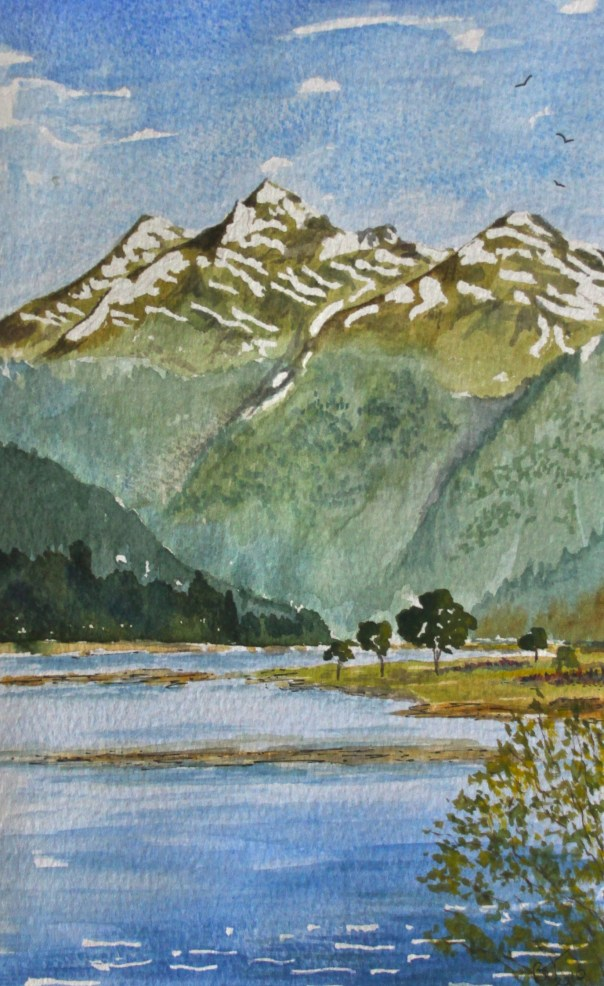 Snowy mountains on the Haast Highway in New Zealand