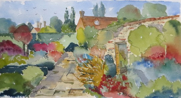 A quiet corner of Sissinghust Castle Garden. Watercolour 11 inches by 7.
