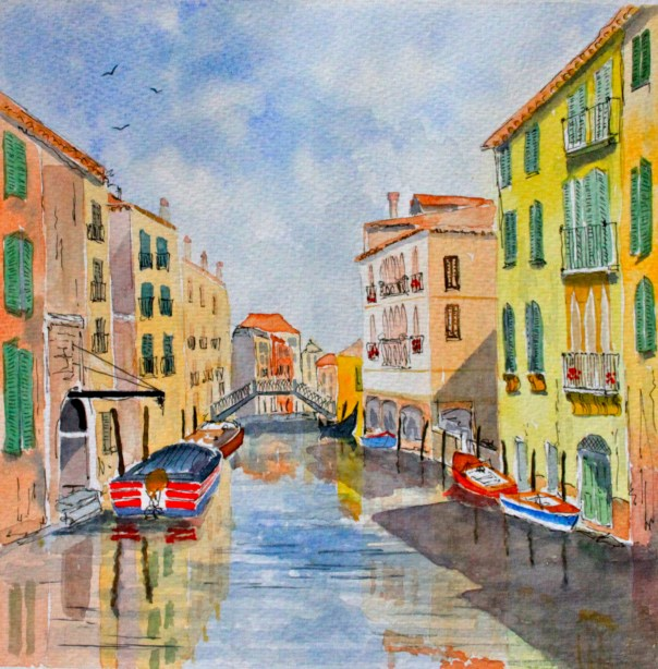 Just off the Grand Canal in Venice. Painted on a previous visit.