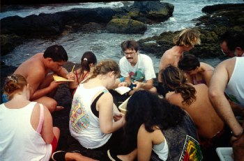 Teaching classes at UH-Hilo, 1992. Photo: John Coney.