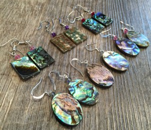 Handmade Yurok shell, and abalone shell earrings. Northern California Native American Tribe.