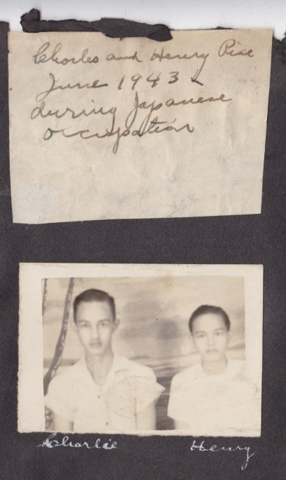 My uncles, Charlie and Henry, during the Japanese occupation in 1943
