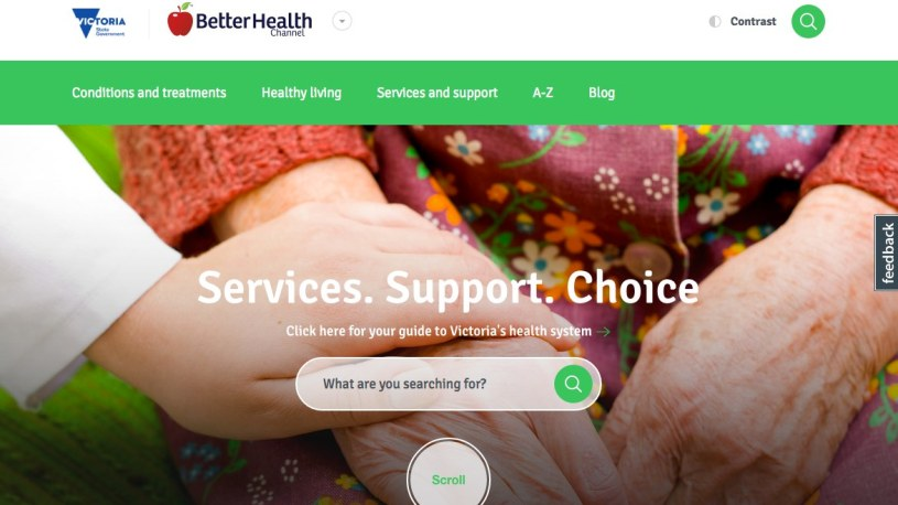 BetterHealth Channel home page