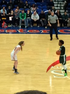 Junior Kelsey Simpson faces off with Woodlands