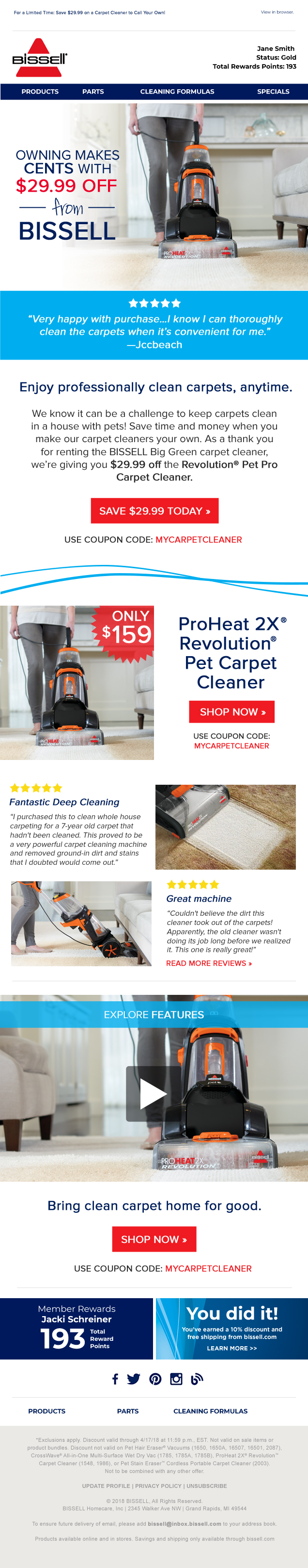 BISSELL Pet Carpet Cleaner Responsive Email Design