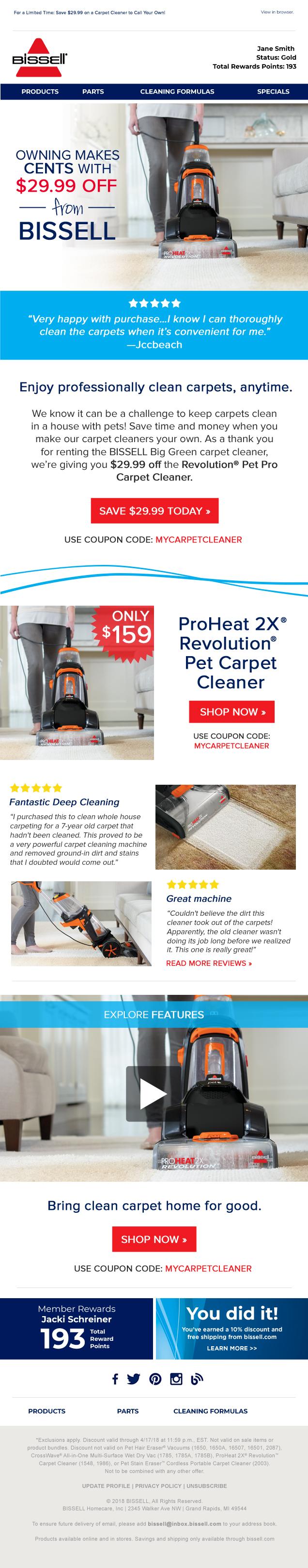 BISSELL Pet Carpet Cleaner Responsive Email Design
