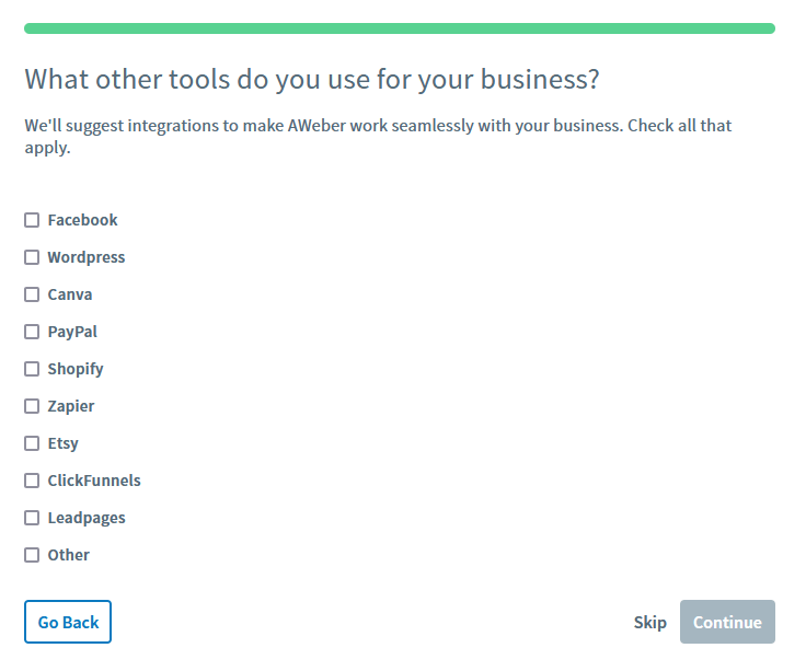 Select the Etsy integration to connect your AWeber account