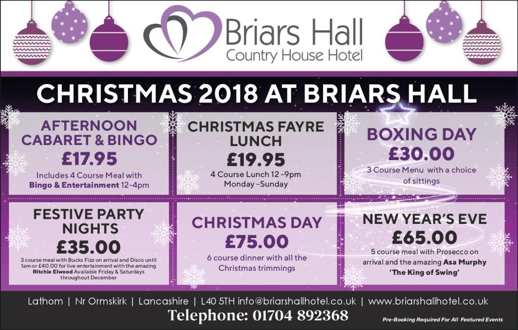 Christmas at Briars Hall Hotel 2018