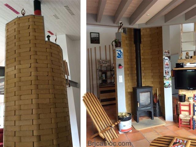 Mur inertie thermique arrondi poêle à bois