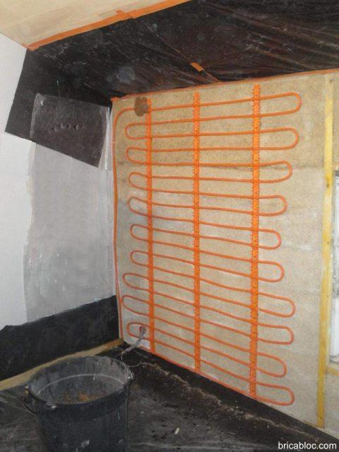 Mur chauffant enduit pose serpentin chauffage