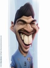 Caricature de Luis Suarez