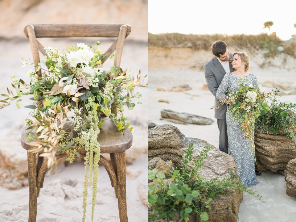 Greenery bouquet | Adrianna Papell wedding dress | Mermaid Inspired Beside the Sea Wedding Shoot | www.bricibene.com