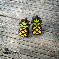 Wood Pineapple Earrings