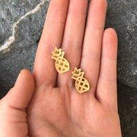 Mirrored Gold Pineapple Earrings