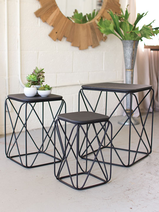 black metal wire table 3 set
