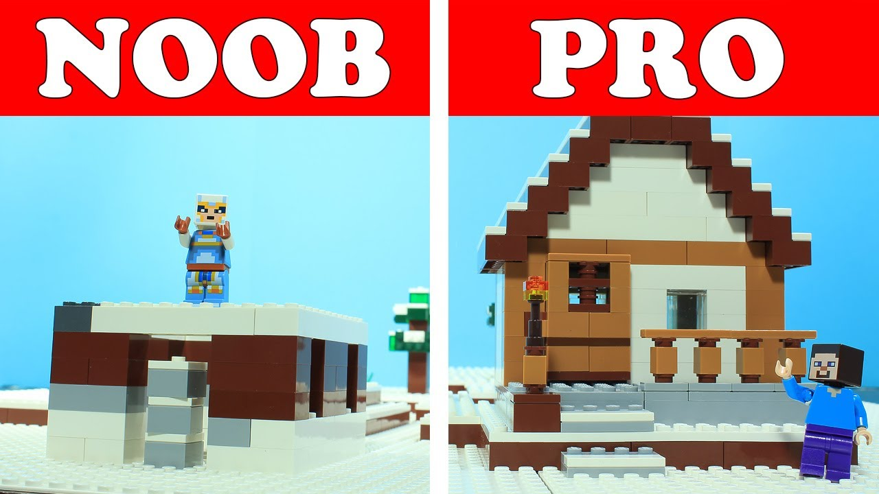 Lego Minecraft Noob Vs Pro Winter House Build Challenge Animation Brickhubs