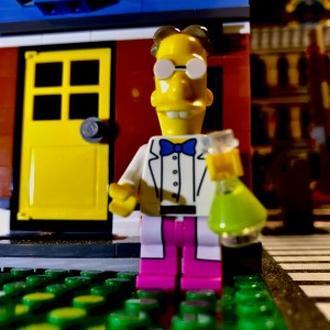 Bricklyn's Chief Scientist in front of his house and laboratory