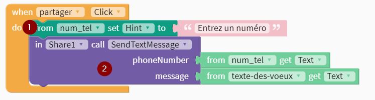 Bloc envoyé par SMS