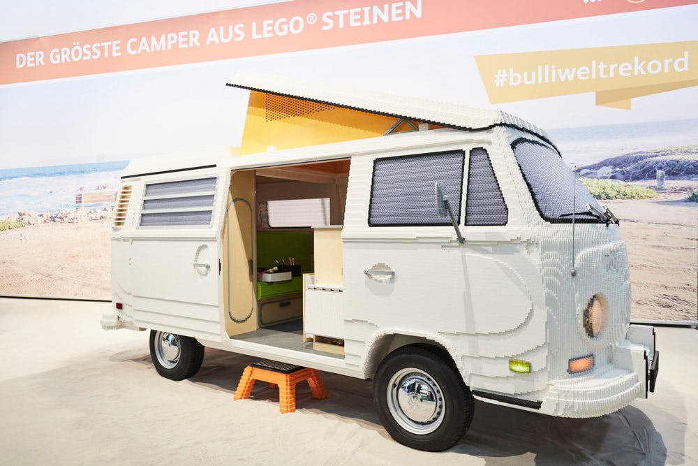 Munich Trade Show Features Massive 1:1 LEGO Volkswagen T2 Van Made by Certified Professional