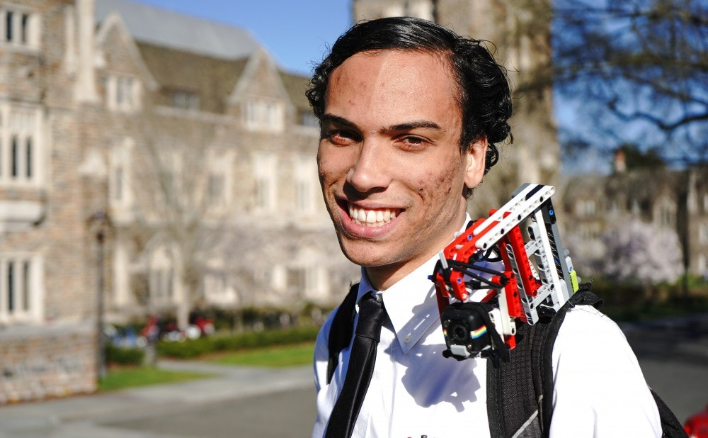 Duke University (NC) Senior Records Campus Life with Shoulder-Camera Rig Made from LEGO Pieces