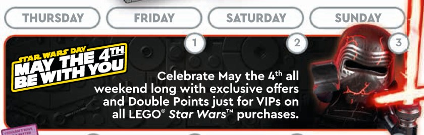 May 2020 LEGO Store Calendar