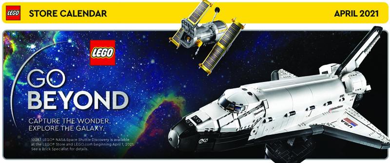 April 2021 LEGO Store Calendar
