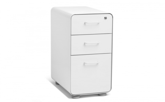 Organize Your Important Documents with Poppin's Stylish & Secure Slim Stow 3-Drawer File Cabinet