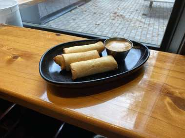 Spring rolls from steak tips and brussel sprouts from Brickyard Hollow brewpub in Yarmouth Maine