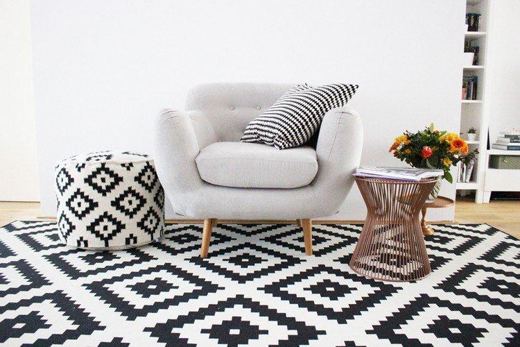 tapis noir et blanc scandinave