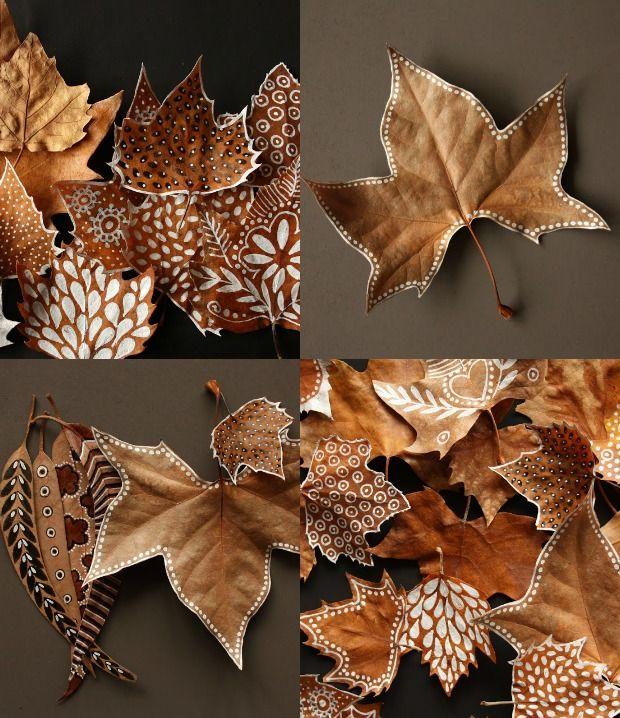 30 ideas para decorar con hojas secas - Hojas de otono para decorar ...