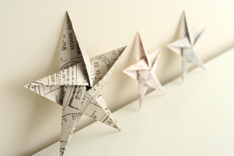 estrellas de Navidad de origami
