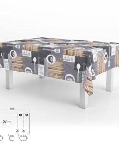 Mantel Hule Rectangular Cuisin Impermeable Antimanchas PVC 140 x 250 cm.  Recortable Uso Interior y Exterior