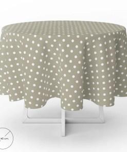 Mantel Hule Redondo Topos Beige Impermeable Antimanchas PVC Ø140 cm. Uso Interior y Exterior