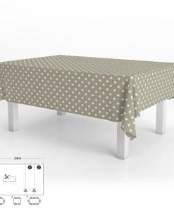 Mantel Hule Rectangular Topos Beige Impermeable Antimanchas PVC 140x250 cm.  Recortable Uso Interior y Exterior